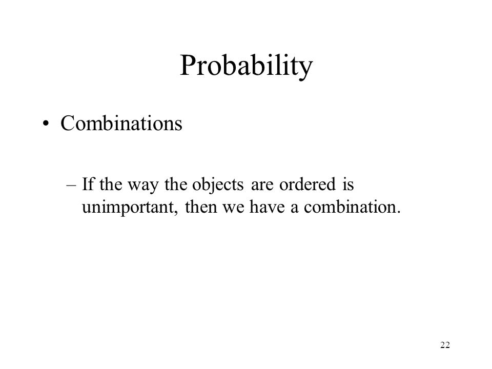 Probability Combinations