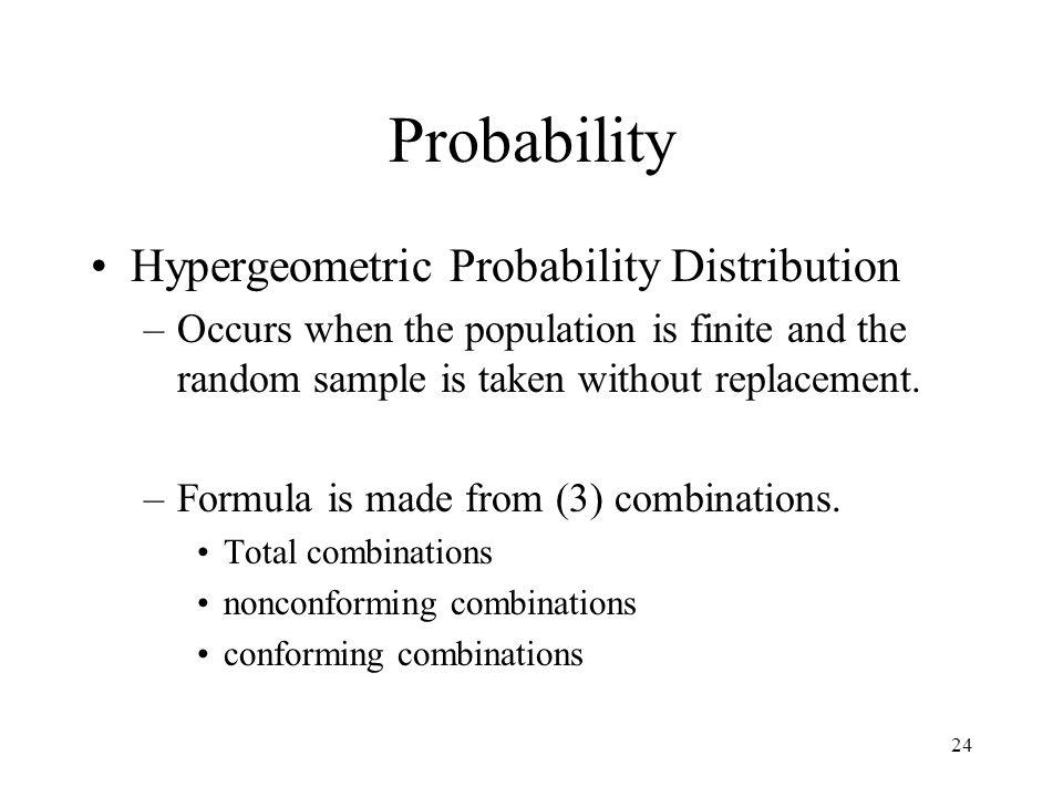 Probability Hypergeometric Probability Distribution