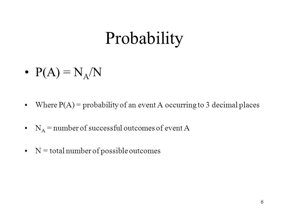 Probability P(A) = NA/N