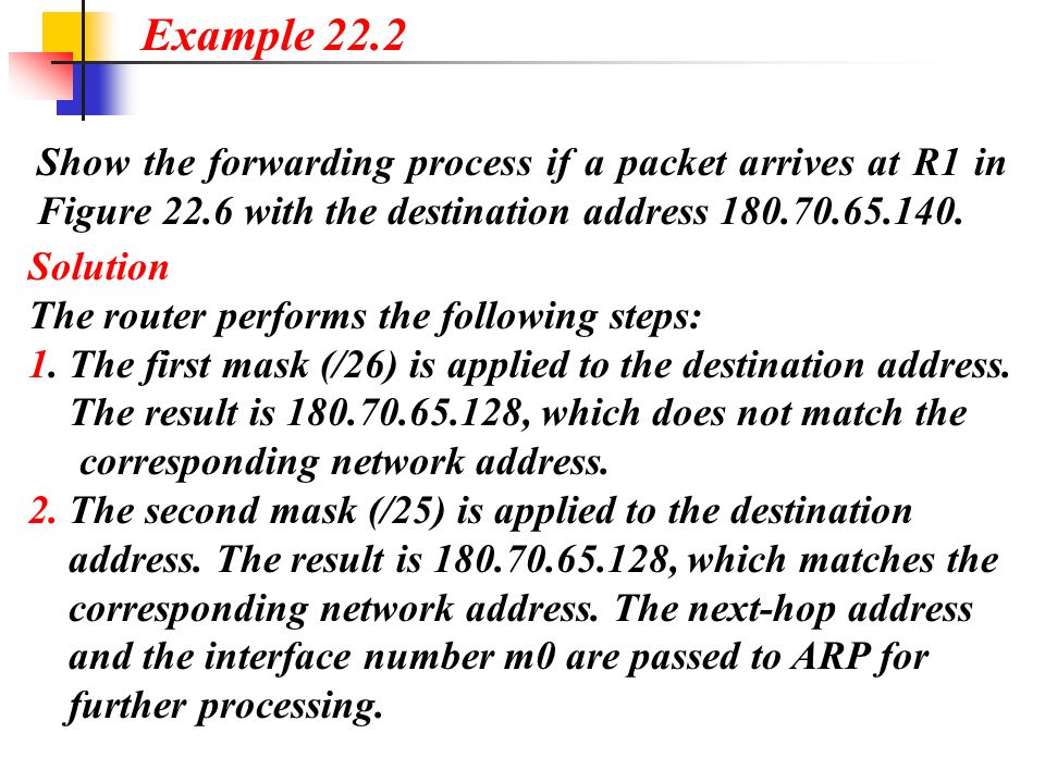 Example 22.2 Show the forwarding process if a packet arrives at R1 in Figure 22.6 with the destination address 180.70.65.140.