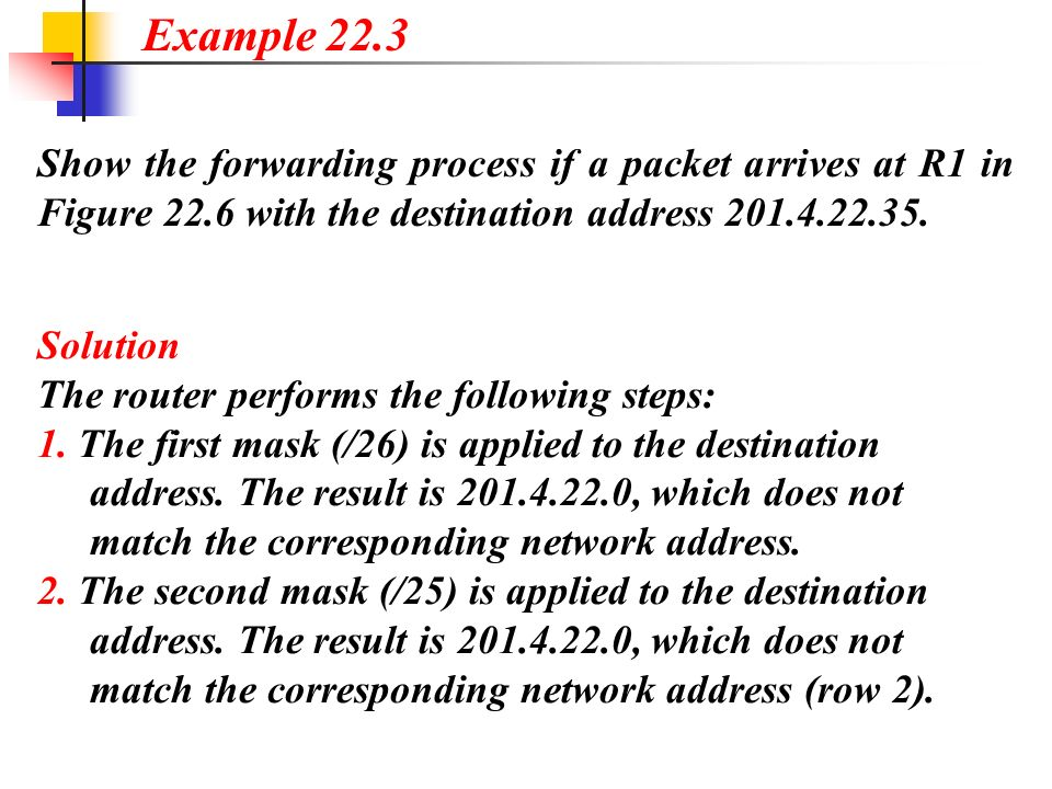Example 22.3 Show the forwarding process if a packet arrives at R1 in Figure 22.6 with the destination address