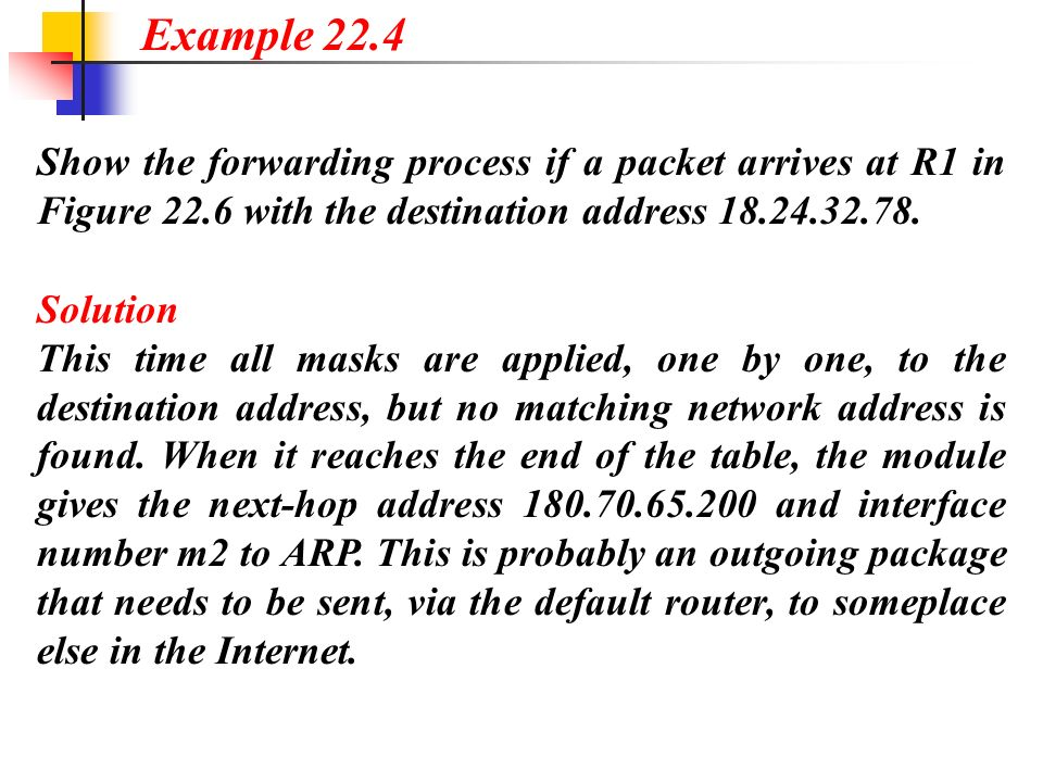 Example 22.4 Show the forwarding process if a packet arrives at R1 in Figure 22.6 with the destination address