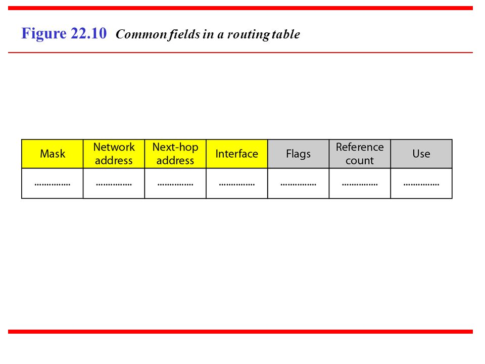 Figure 22.10 Common fields in a routing table
