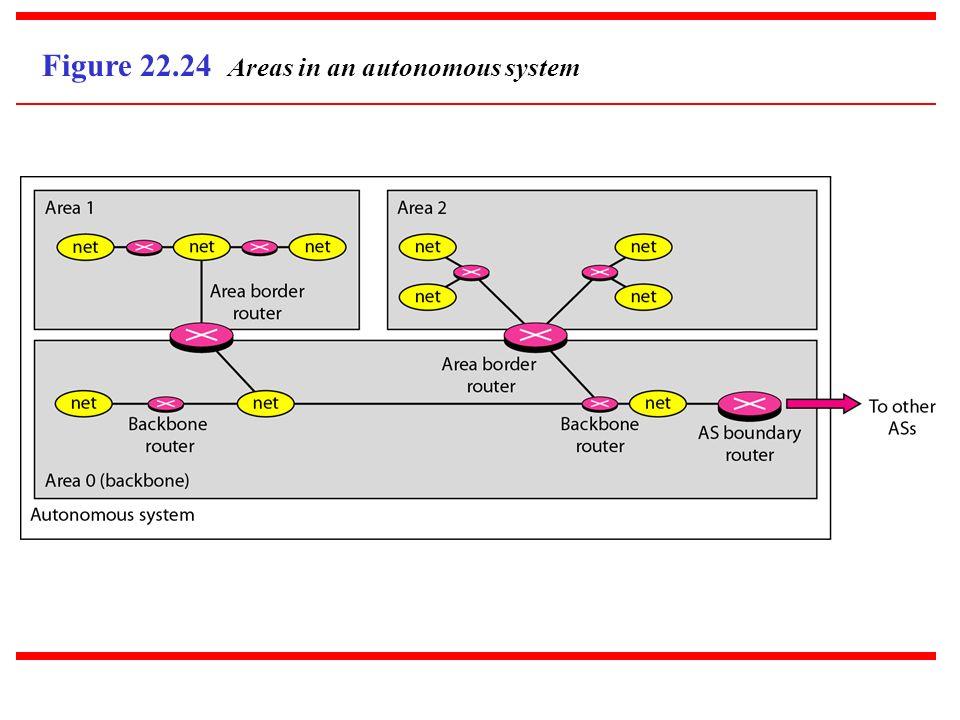 Figure 22.24 Areas in an autonomous system