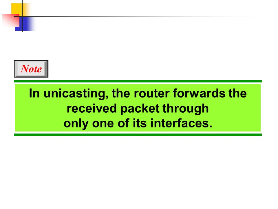 In unicasting, the router forwards the received packet through