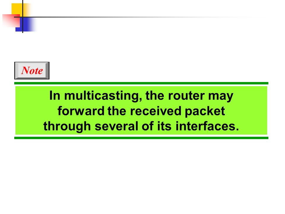 In multicasting, the router may forward the received packet