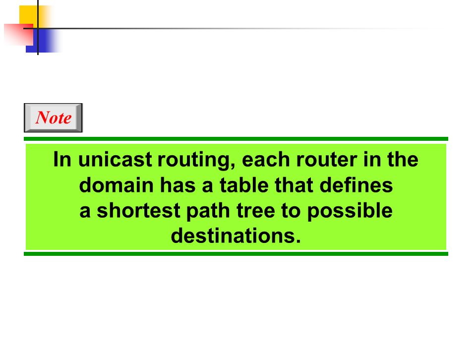 In unicast routing, each router in the domain has a table that defines