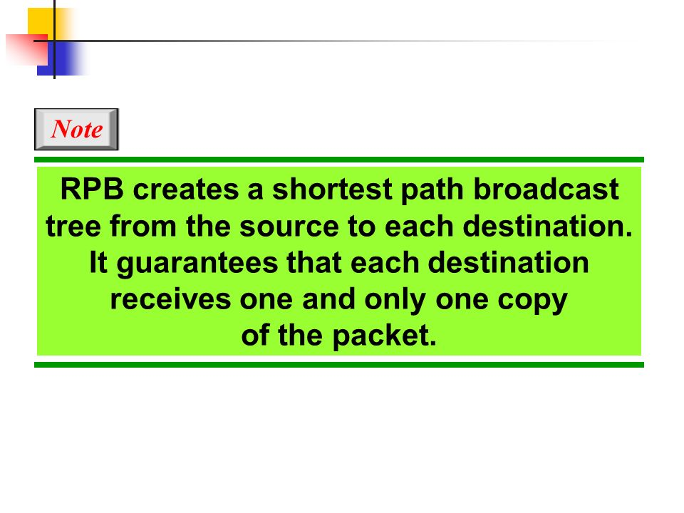 Note RPB creates a shortest path broadcast tree from the source to each destination.