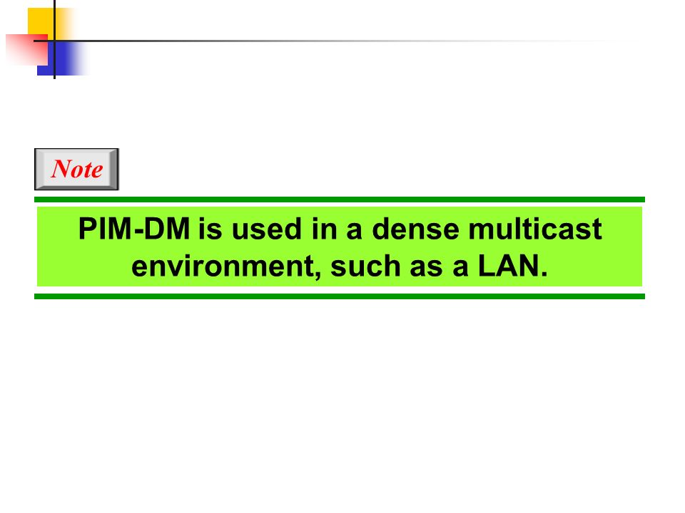 PIM-DM is used in a dense multicast environment, such as a LAN.