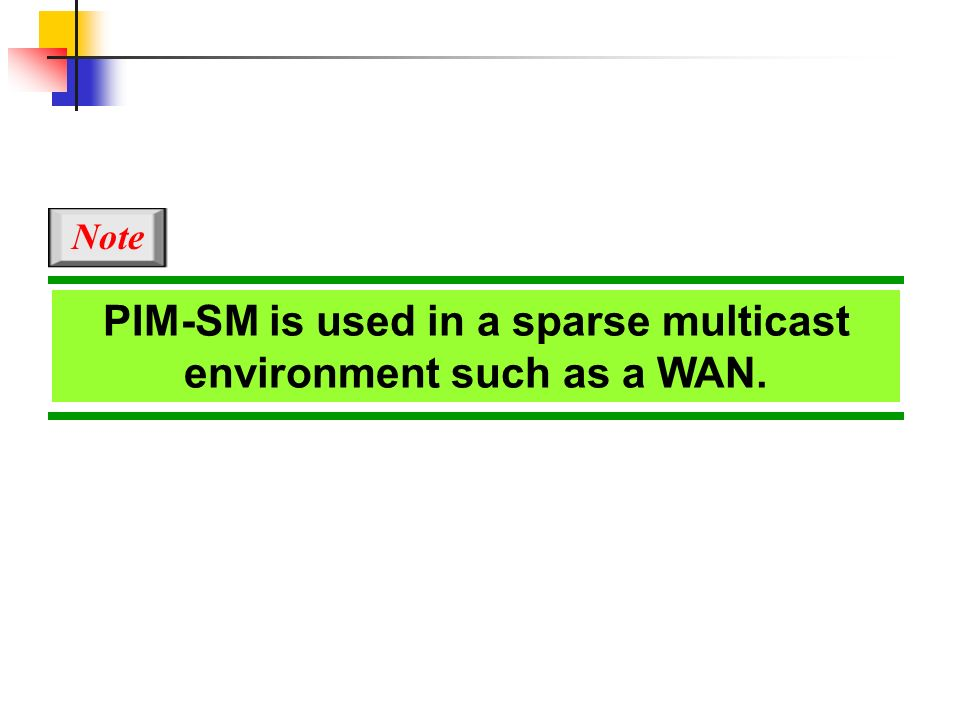 PIM-SM is used in a sparse multicast environment such as a WAN.