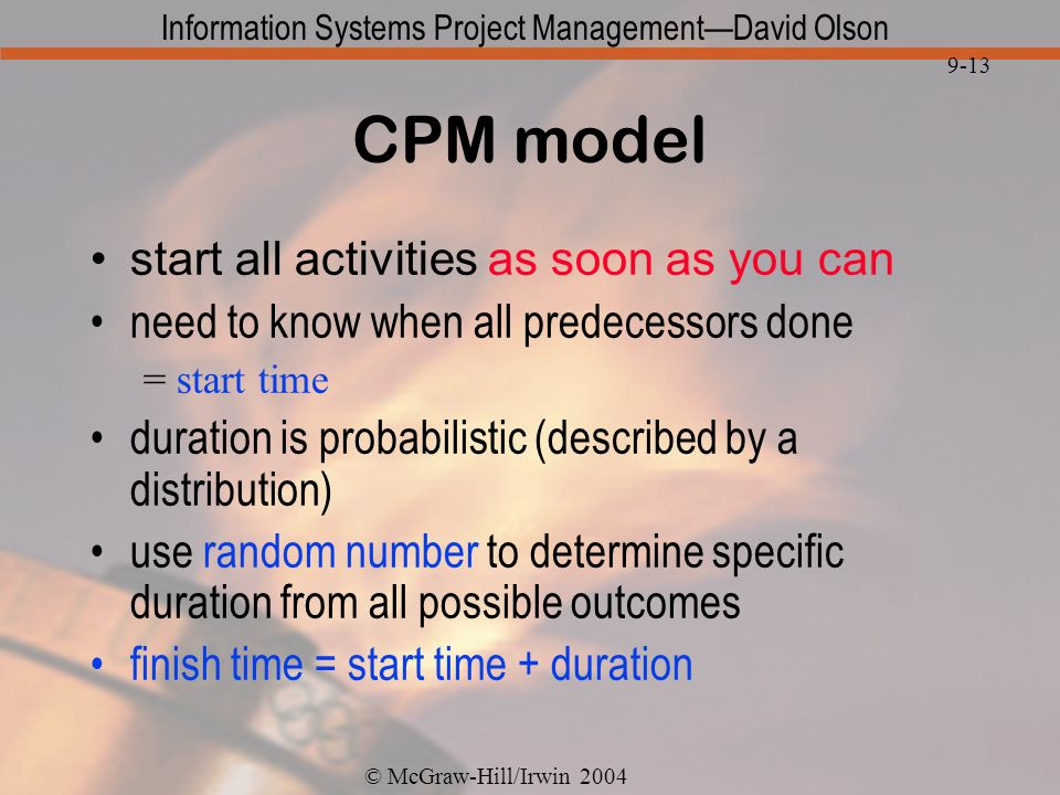 CPM model start all activities as soon as you can