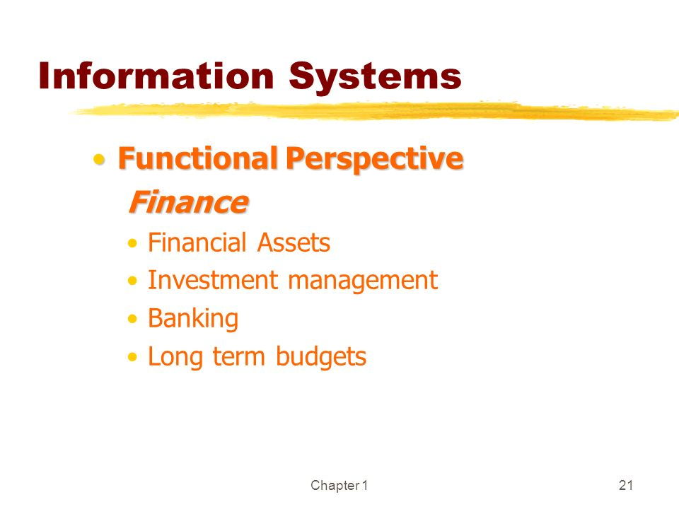 Information Systems Functional Perspective Finance Financial Assets
