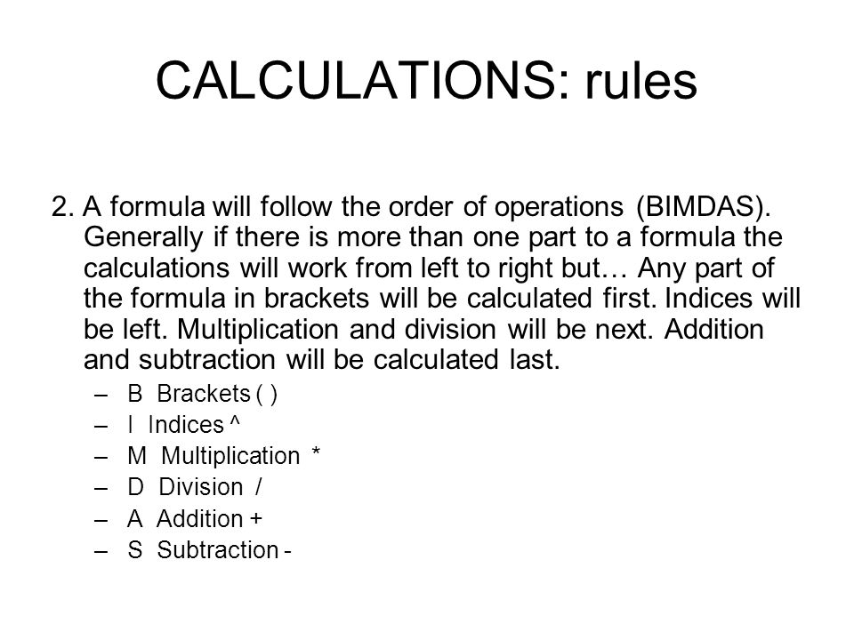CALCULATIONS: rules