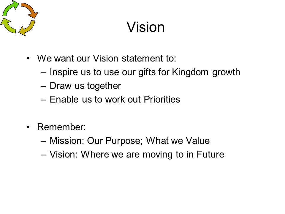Vision We want our Vision statement to: