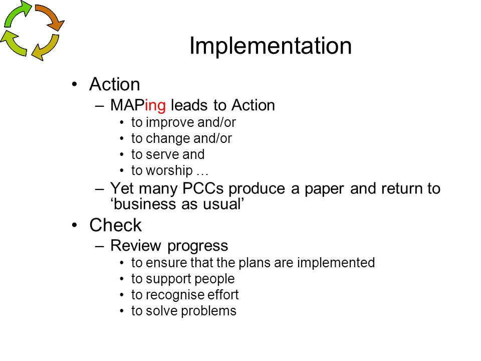 Implementation Action Check MAPing leads to Action
