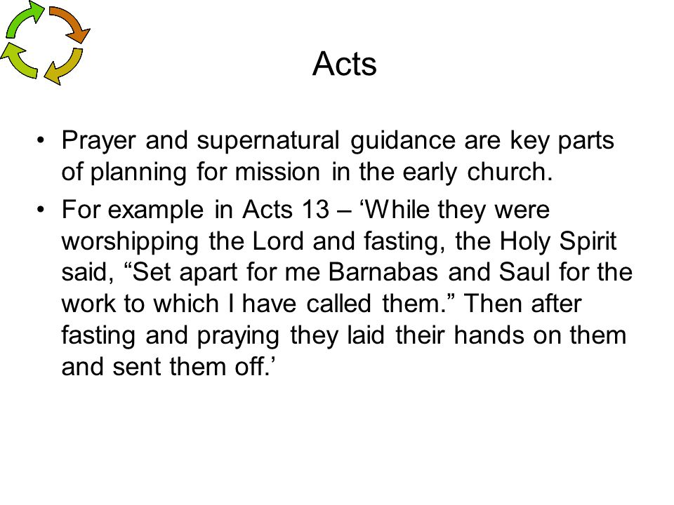 Acts Prayer and supernatural guidance are key parts of planning for mission in the early church.