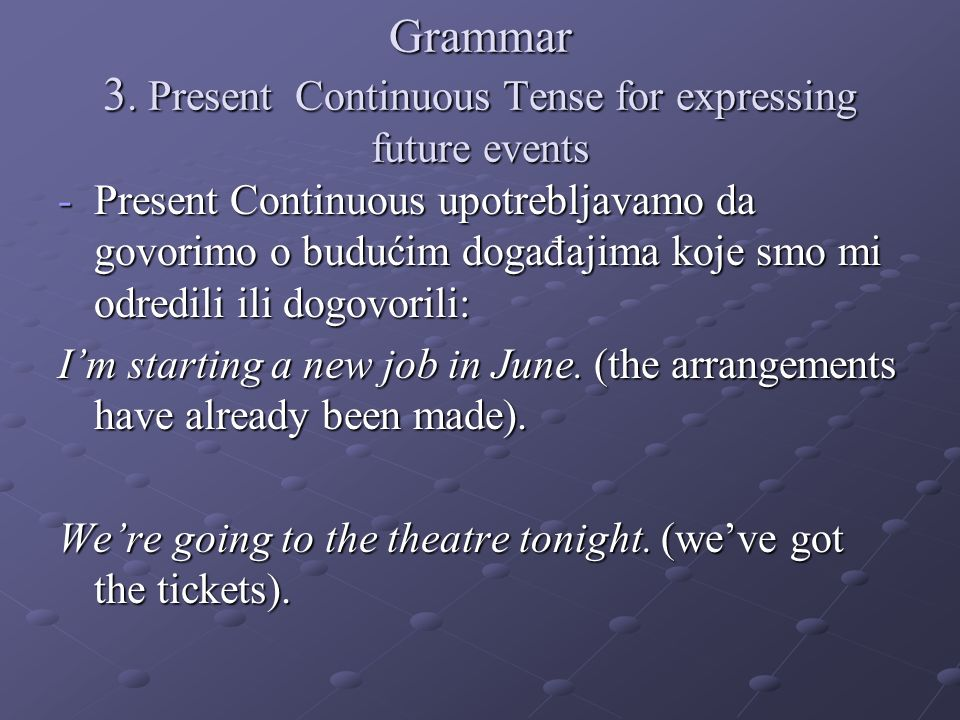 Grammar 3. Present Continuous Tense for expressing future events