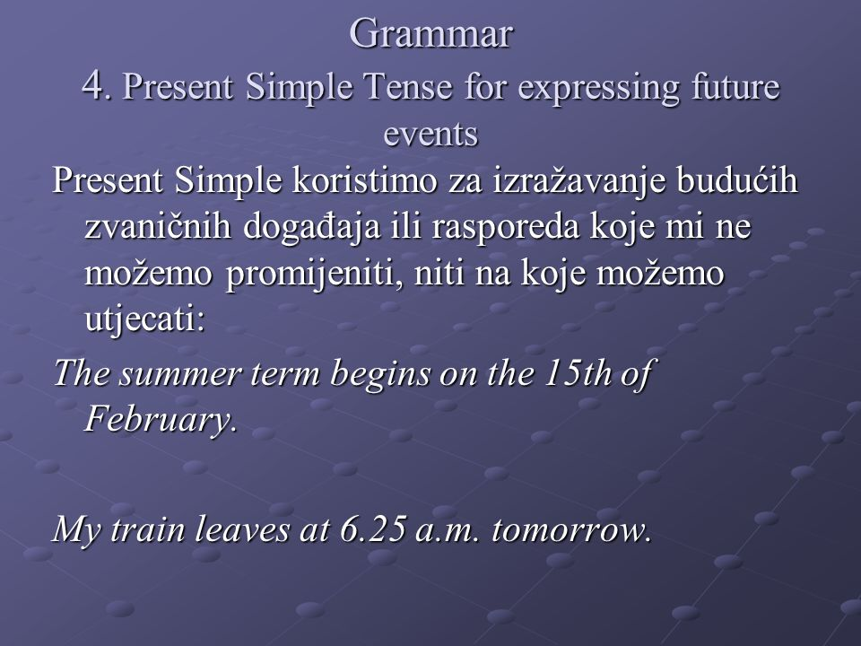 Grammar 4. Present Simple Tense for expressing future events
