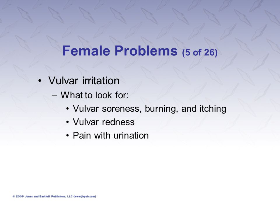Female Problems (5 of 26) Vulvar irritation What to look for: