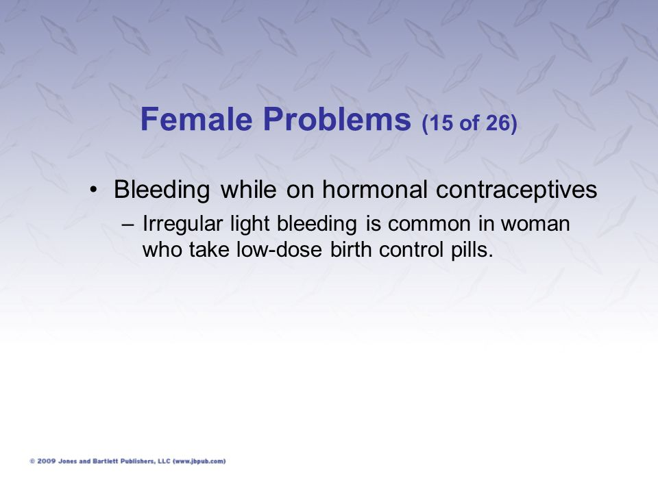 Female Problems (15 of 26) Bleeding while on hormonal contraceptives