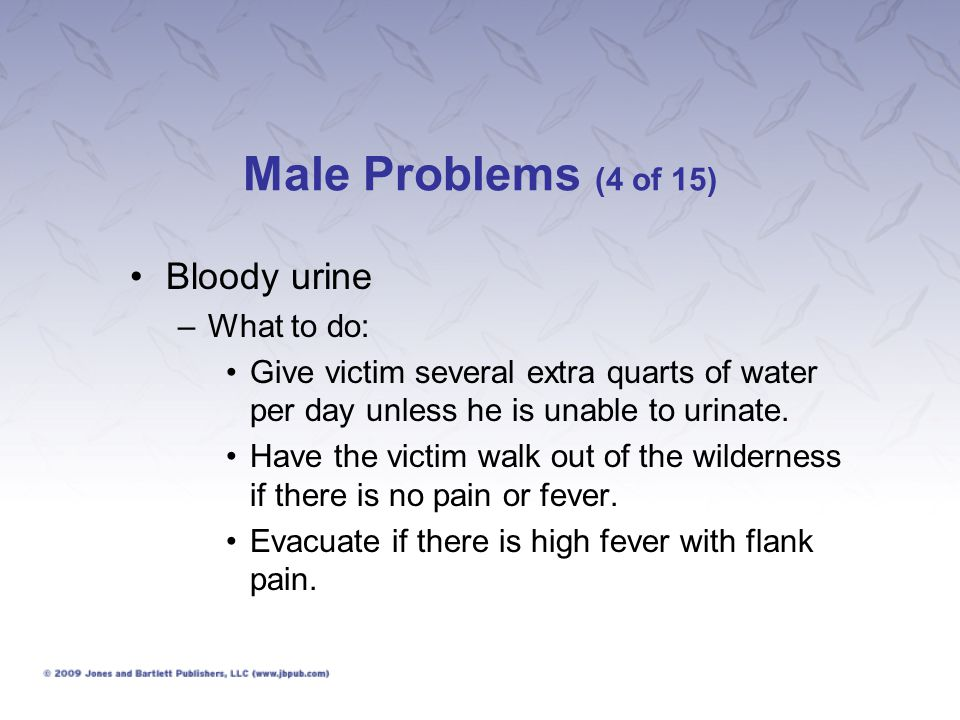 Male Problems (4 of 15) Bloody urine What to do: