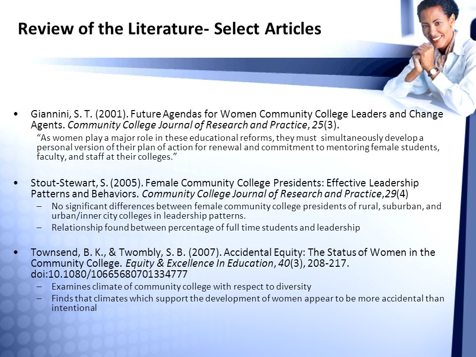Review of the Literature- Select Articles