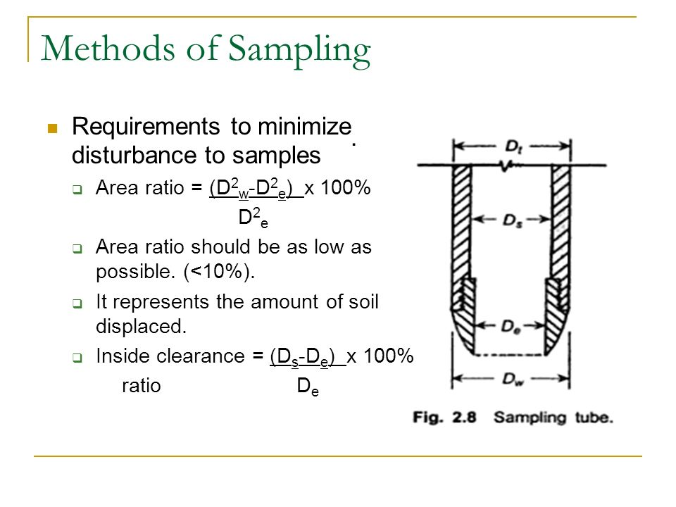 Methods of Sampling Requirements to minimize disturbance to samples .
