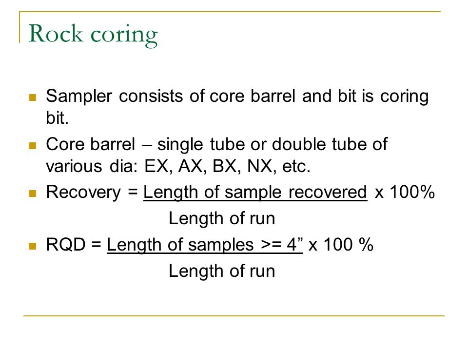 Rock coring Sampler consists of core barrel and bit is coring bit.