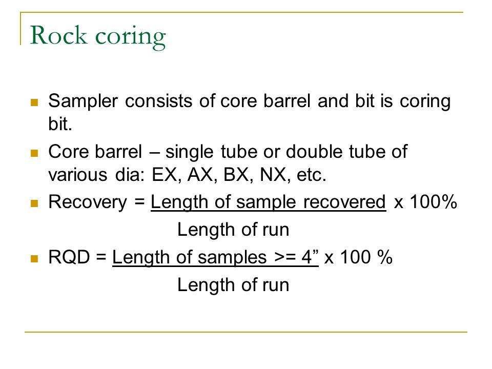 Rock coring Sampler consists of core barrel and bit is coring bit.