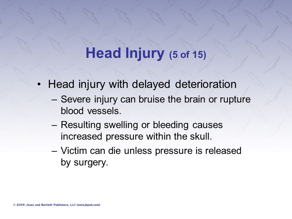 Head Injury (5 of 15) Head injury with delayed deterioration