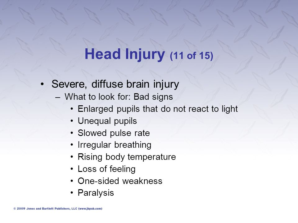 Head Injury (11 of 15) Severe, diffuse brain injury