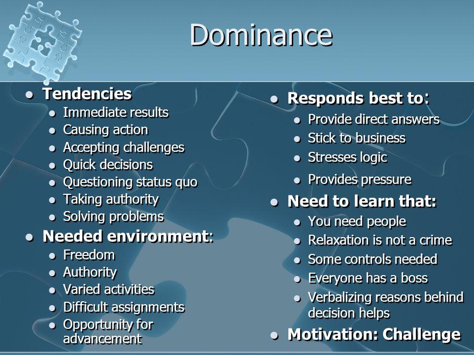 Dominance Tendencies Needed environment: Responds best to: