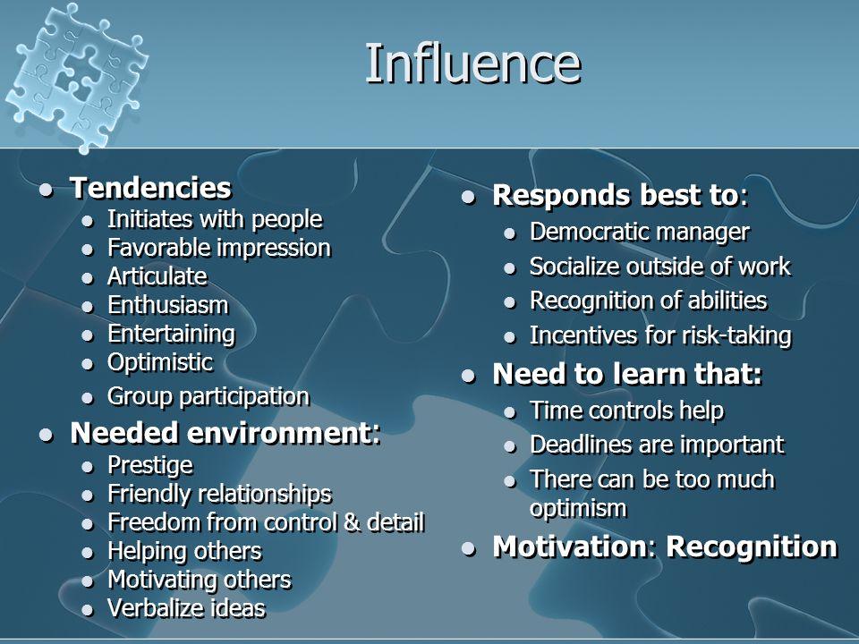 Influence Tendencies Needed environment: Responds best to: