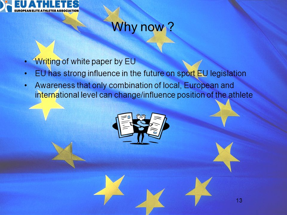 Why now Writing of white paper by EU