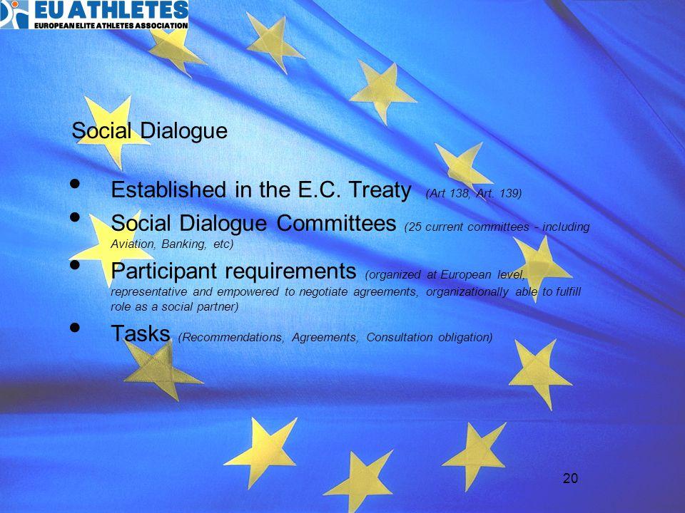 Established in the E.C. Treaty (Art 138, Art. 139)