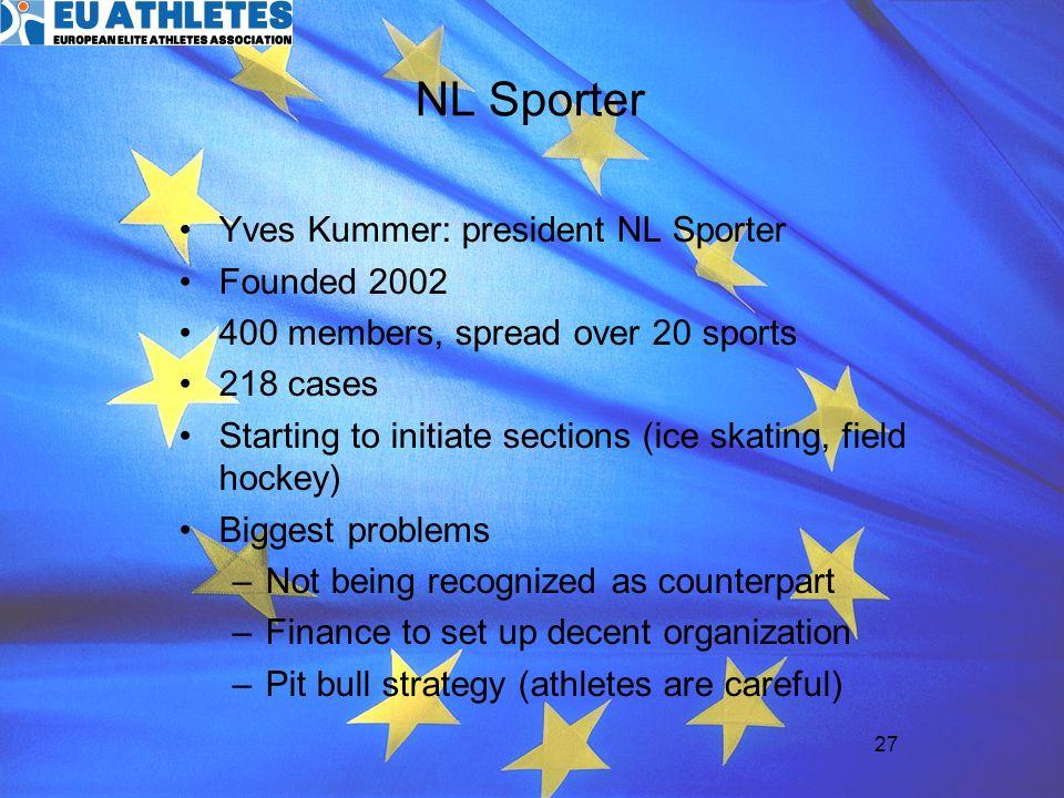NL Sporter Yves Kummer: president NL Sporter Founded 2002