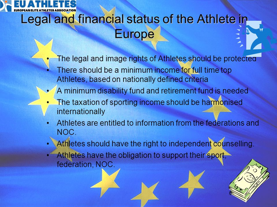 Legal and financial status of the Athlete in Europe