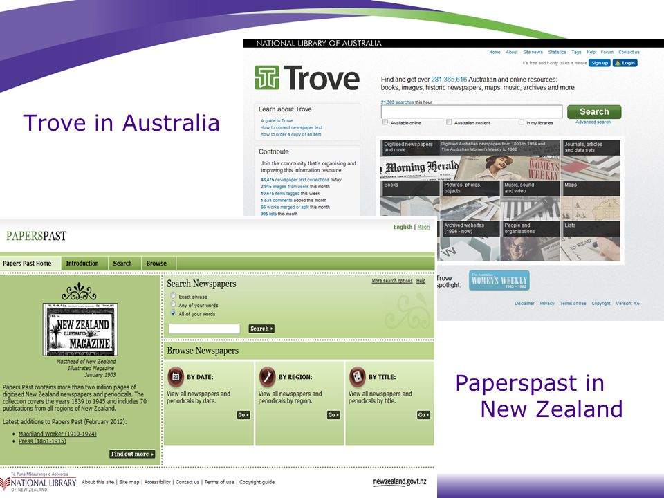 Trove in Australia Paperspast in New Zealand