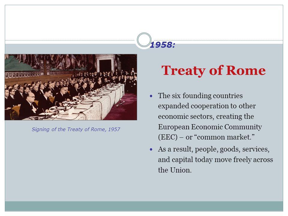 1958: Treaty of Rome.