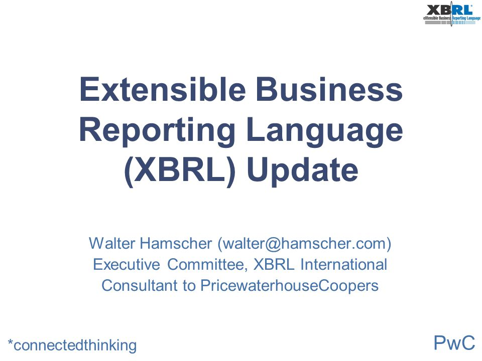 Extensible Business Reporting Language (XBRL) Update