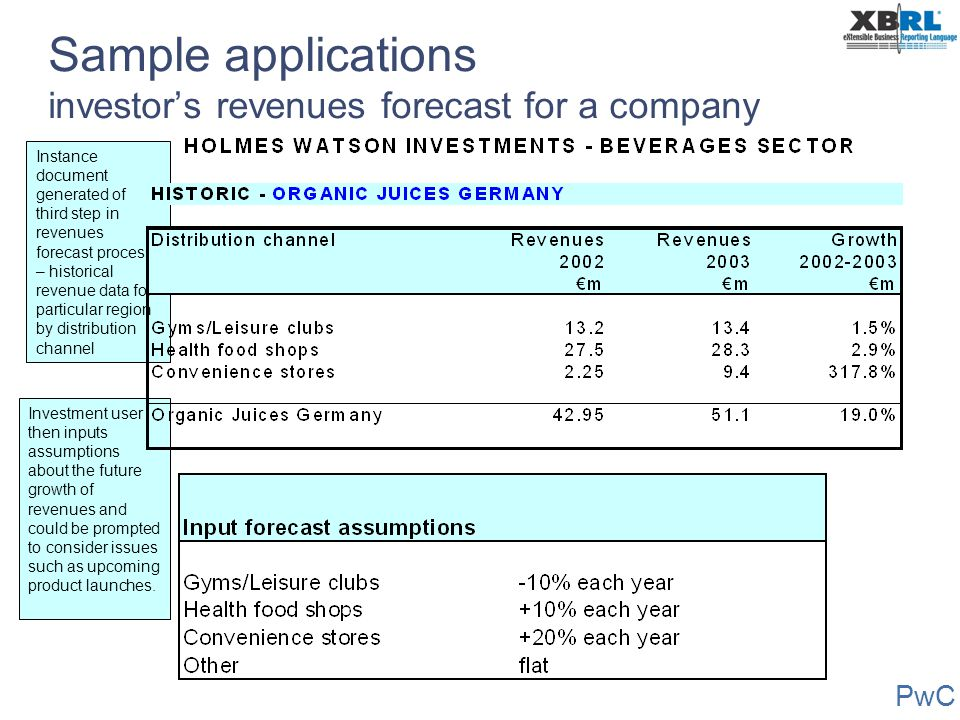 Sample applications investor's revenues forecast for a company