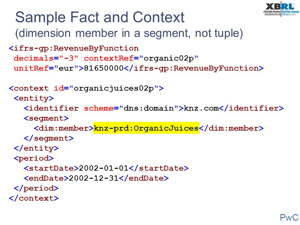Sample Fact and Context (dimension member in a segment, not tuple)