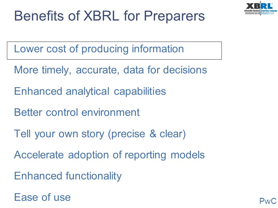 Benefits of XBRL for Preparers