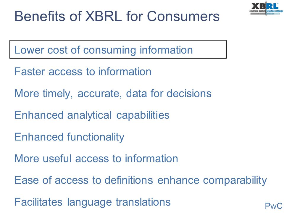 Benefits of XBRL for Consumers
