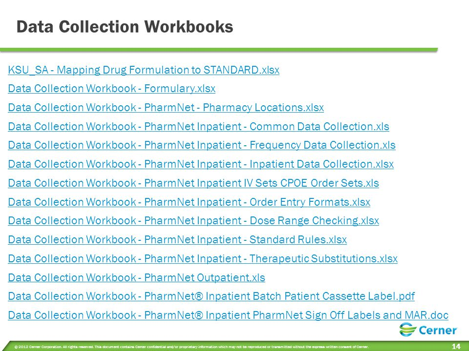 Data Collection Workbooks