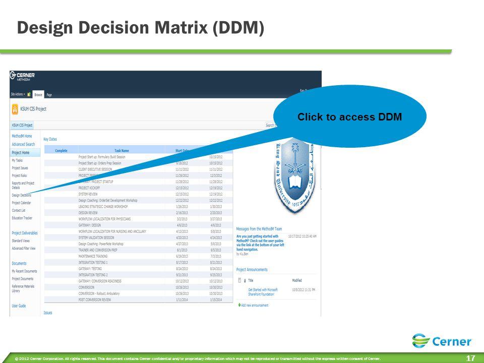 Design Decision Matrix (DDM)