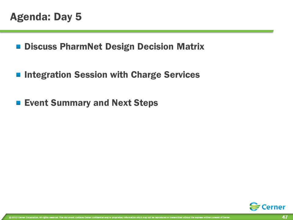 Session Objectives Day 5