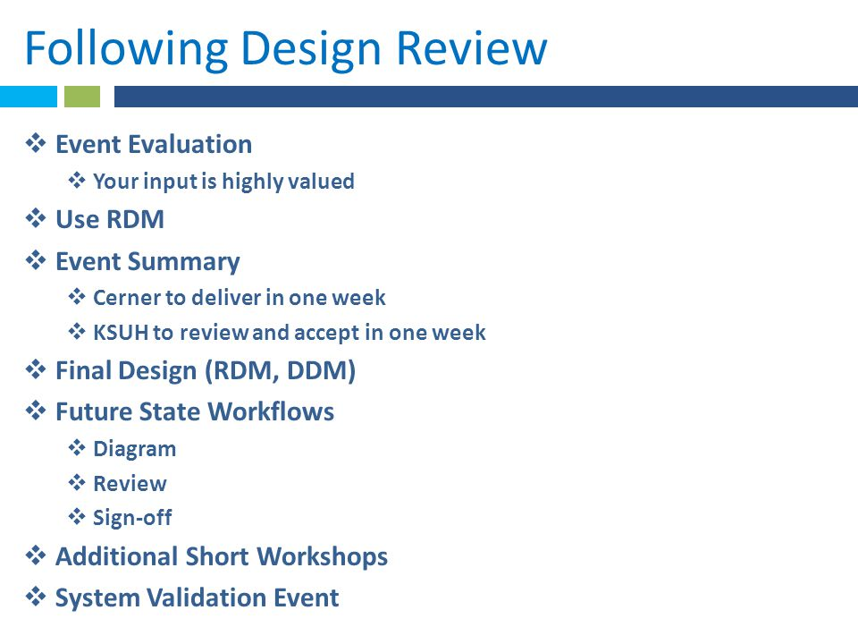 Following Design Review