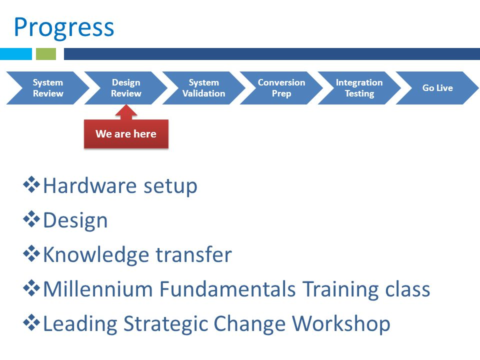 Progress Hardware setup Design Knowledge transfer