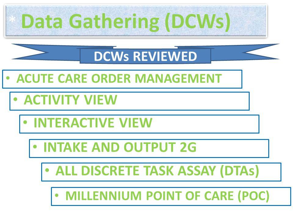 * Data Gathering (DCWs)